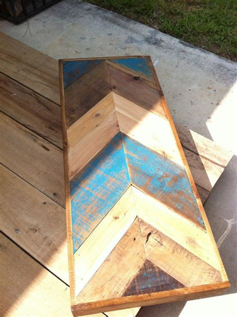 blue reclaimed barn wood chevron herringbone pallet
