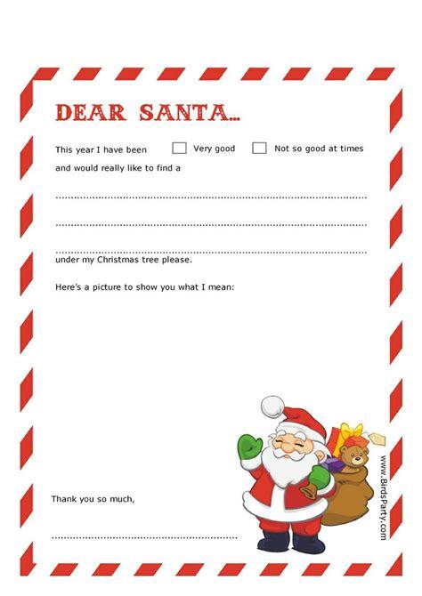 dear santa letter templates  birds party christmas