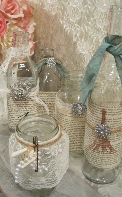 vintage table decorations jam jars  paper wrapped