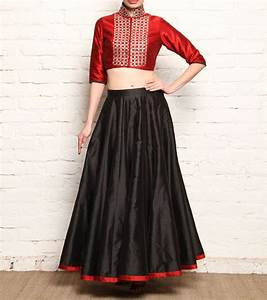 #Red u0026 #Black Raw Silk #Skirt u0026 Crop #Top With Gota Patti at #Indianroots | Skirts | Pinterest ...