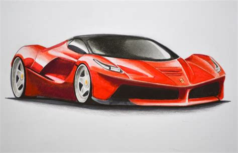 How To Draw A Ferrari With Colors