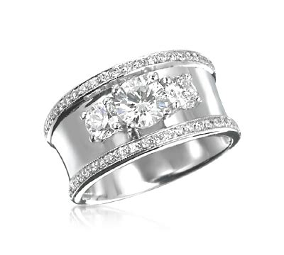 wide band 3 stone ring with pave trim in 2019 things i