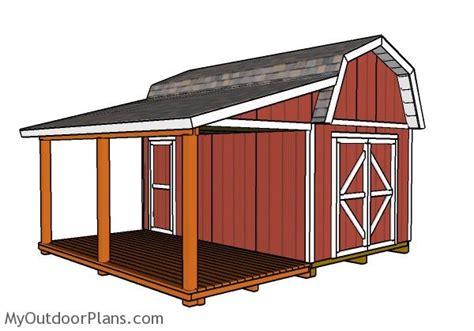 barn shed  porch plans myoutdoorplans