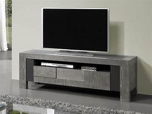 Meuble Tv Bois Gris : meuble tv volcan en ch ne avec plateau c ramique meubles bois massif ~ Teatrodelosmanantiales.com Idées de Décoration
