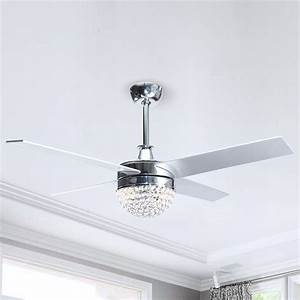 48, U0026quot, Contemporary, Crystal, Ceiling, Fans, With, Lights, And