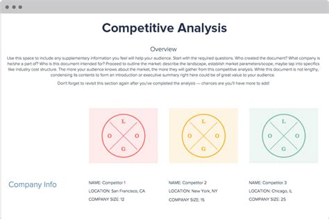 competitive analysis template  examples xtensio