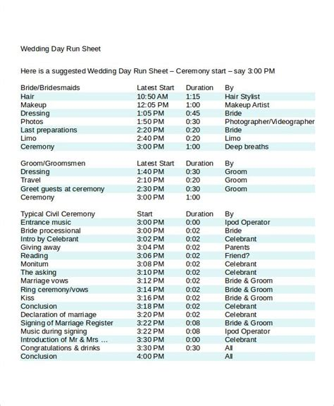 image result  wedding day run sheet template excel jr