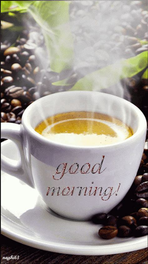 steaming good morning coffee gif pictures