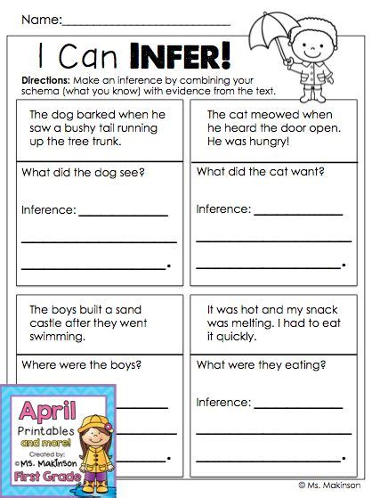 Making Inferences  First Grade Printables  Firstgradefacultycom  Pinterest Inference