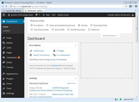 Wordpress 3.8 Update Comes With A New Admin And Default