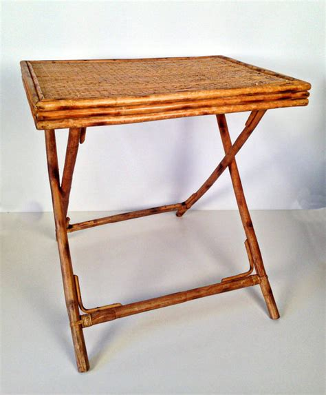 vintage bamboo side table vintage rattan bamboo folding side end table