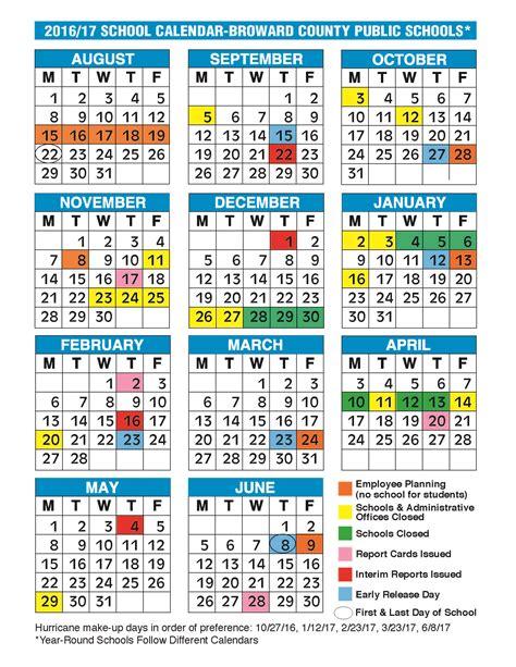 Calendar School Broward County School Calendar Monthly Calendar 2017