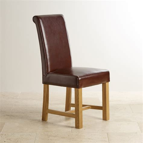 Brown Leather Dining Chair With Braced Oak Legs  Dining Room