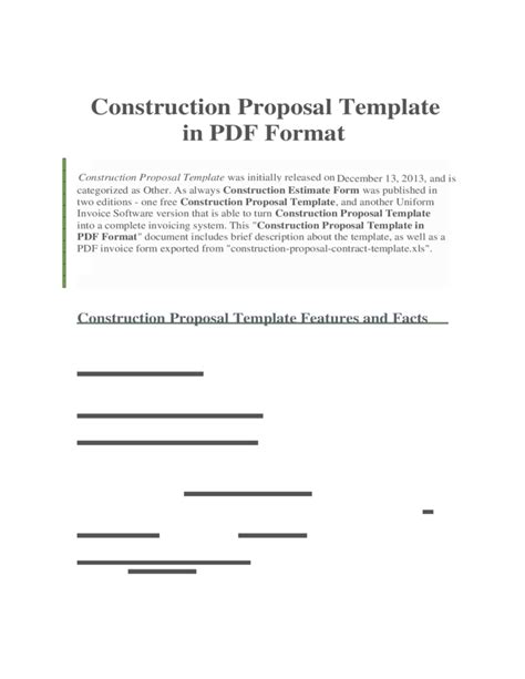 construction proposal template   format