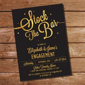 gold glitter stock the bar engagement party invitation With stock the bar invitation templates