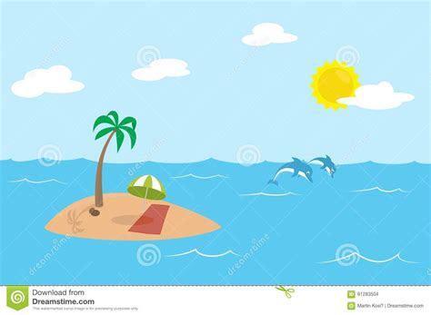 Tropic Island With Palm And Parasol In The Middle Of The
