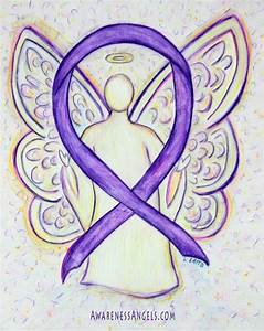 A purple awareness ribbon supports Pancreatic Cancer ...