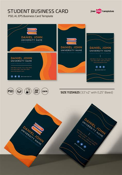 Free student business card Template in PSD + Vector ( ai