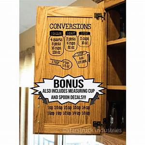 kitchen measurement decals baking conversion decals With kitchen cabinets lowes with printable sticker charts