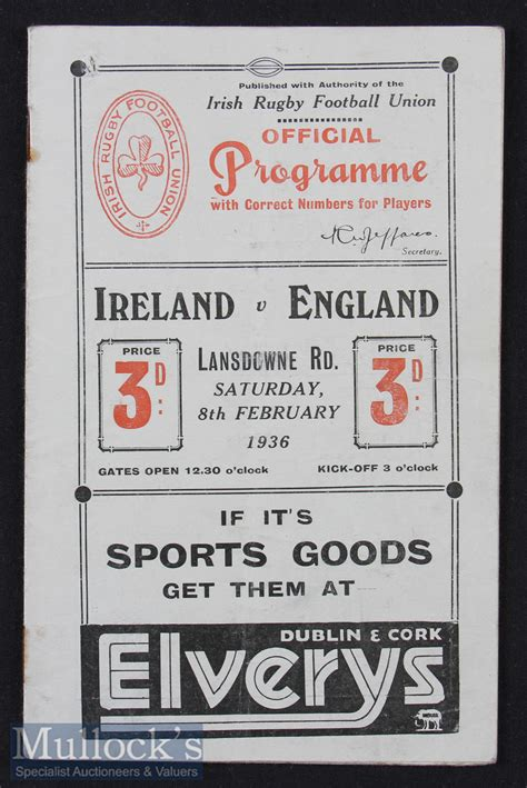 Mullock's Auctions - 1936 Ireland v England Rugby ...