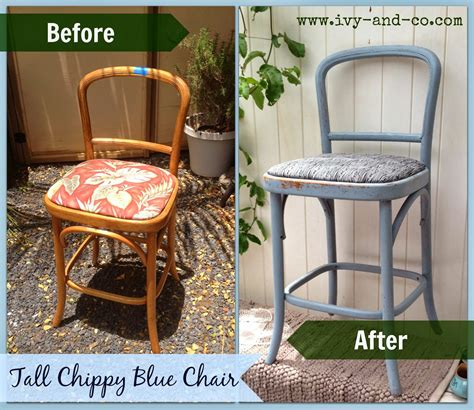 tall chippy blue chair ivy