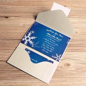 printable winter snowflake blue pocket wedding invitation With pocket printable wedding invitations kit