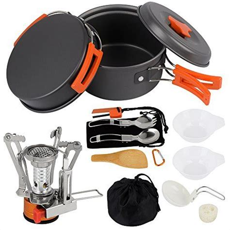 camping cooking gear backpacking survival equipment hiking cookware utensils outdoors pots piece pan mini stick non all4hiking mess lightweight kit