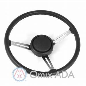 18031 08 Steering Wheel Kit With Horn Button Cap  Black 3 Metal Spoke Design With Leather Trim