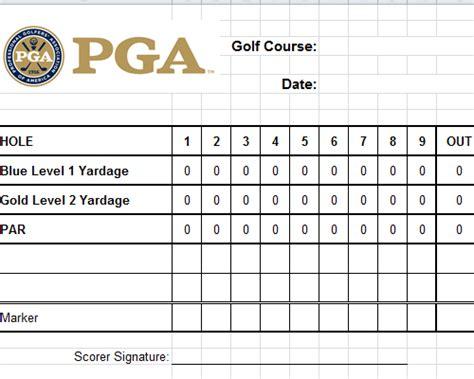 golf scorecard template excel