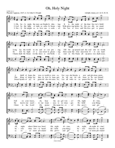 O holy night sheet music. Songs of Praises: O Holy Night (Cantique de Noël)