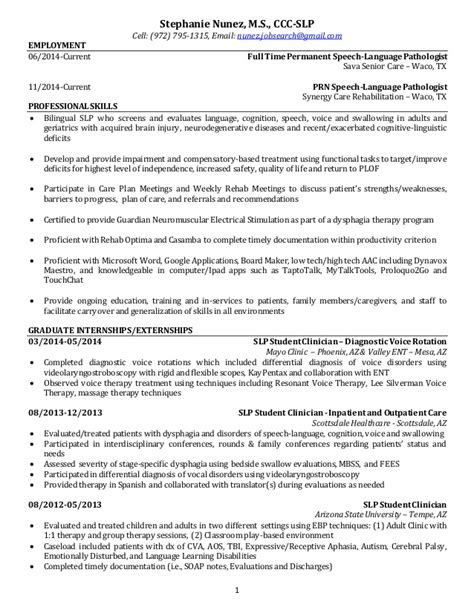 Slp Resume by 042015 Resume