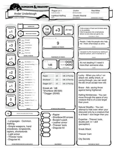 dnd character dungeons dragons sheet sheets rogue ranger elf halfing play lightfoot names story orc half e3 barbarian creation