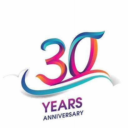 Anniversary 30th Clip Vector Celebration Illustrations Graphics