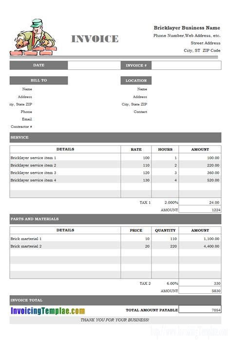 invoice template  hours worked  results