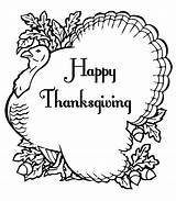 Thanksgiving Coloring Pages Turkey Printable Happy Giving sketch template