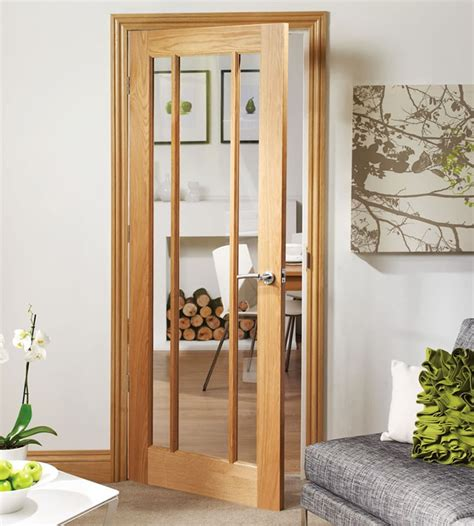 Living Room Door Glass by Pre Finished Worcester 3 Panel Oak Door With Clear Glass