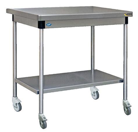 Table Inox Centrale Avec étagère Basse à Roulettes
