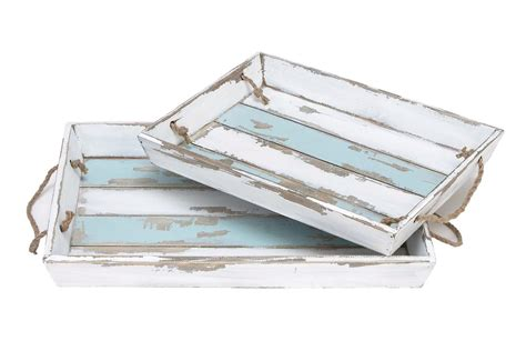 white distressed tray coastal living wood striped serving trays in distressed 1025