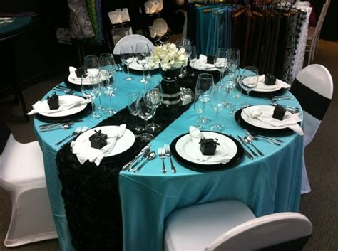 Tiffany Blue And Black Themed Wedding Table Setting Avalon