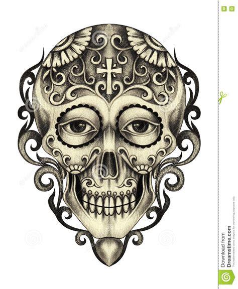 Art Skull Day The Dead Stock Illustration Image