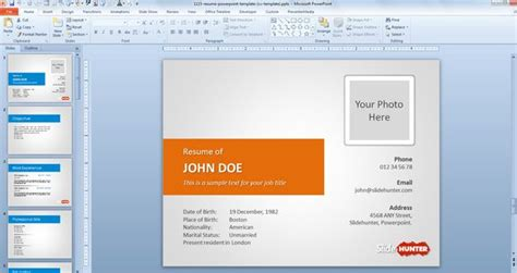 Powerpoint Presentation Resume Slideshow by Free Resume Powerpoint Template Cv Template Free