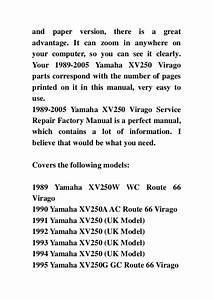 1989 2005 Yamaha Xv250 Virago Service Repair Factory