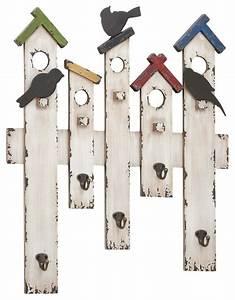 Picket fence bird wall hook farmhouse sculptures