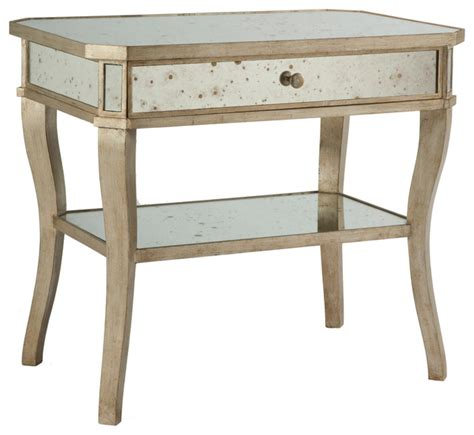 mirrored end tables nightstands antique mirror aged pewter side bedside end table