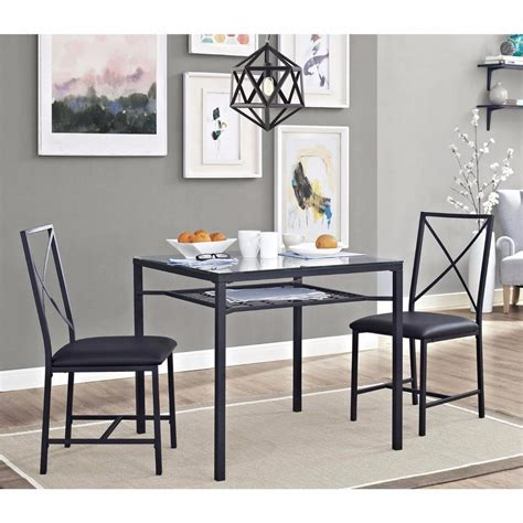 metal kitchen table chairs 3pc dinette set kitchen table chairs small black glass