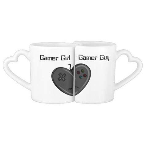 Gamer Girl And Guy Heart Shaped Controller Coffee Mug Set