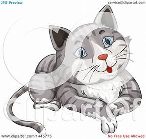 Clipart Of A Happy Blue Eyed Gray Tabby Cat