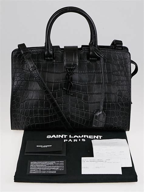 yves saint laurent black croc embossed leather small monogram cabas bag yoogis closet