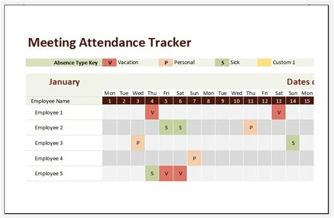 meeting attendance tracker template  excel excel