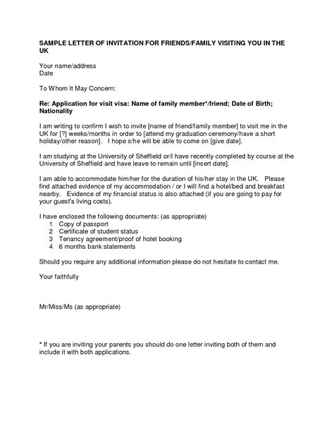 Cover Letter To A Friend by Letter Of Invitation For Uk Visa Templatevisa Invitation